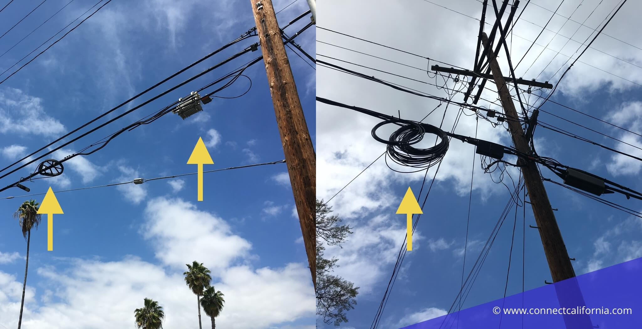 Picture of fiber on a pole.