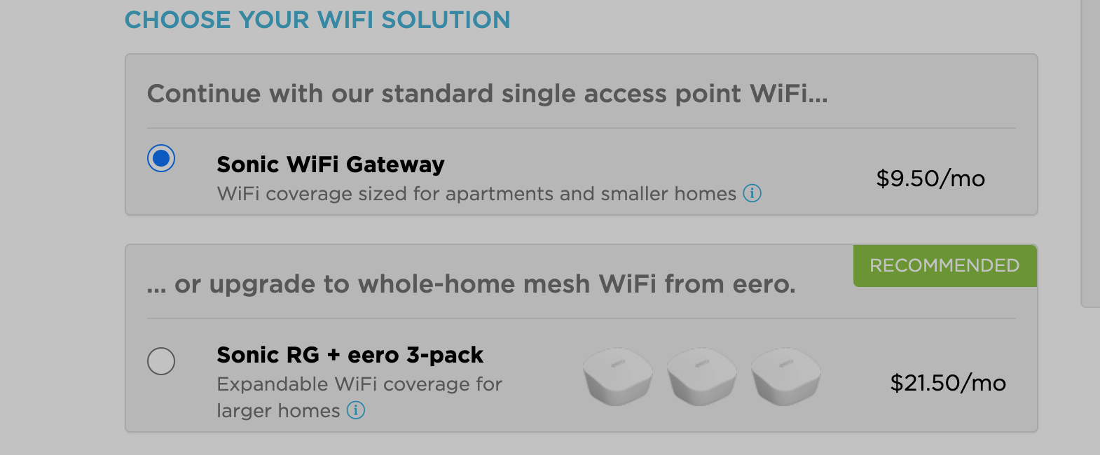 Sonic router options.