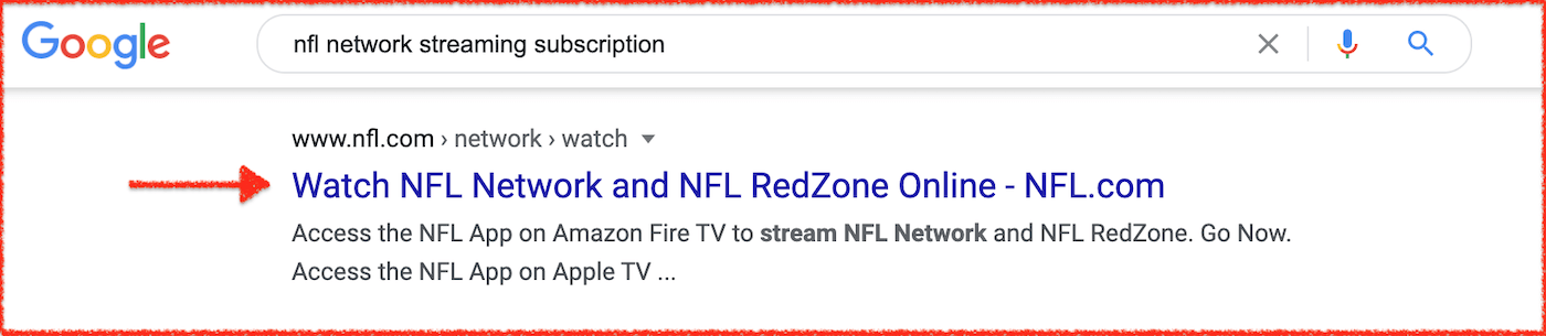 Google search for sports treaming NFL.